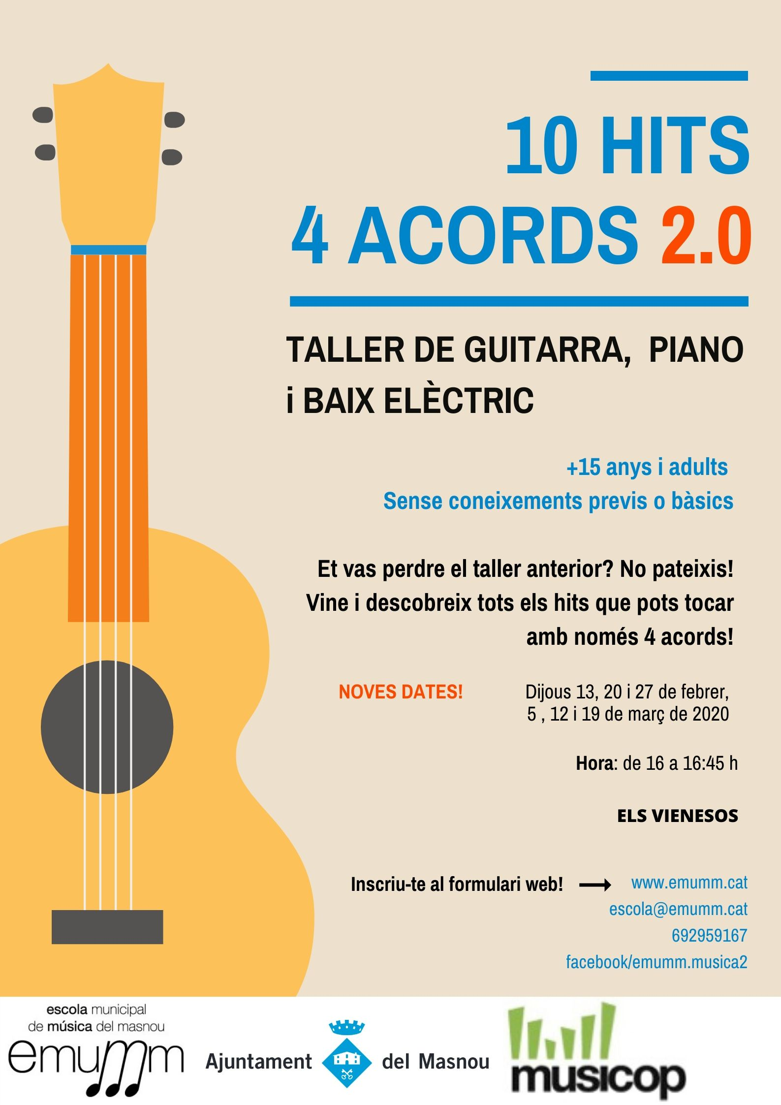Taller de guitarra i piano: 10 hits, 4 acords